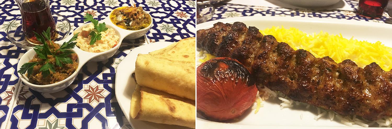 Darband Restaurant - balra lavash kétféle padlizsánnal és majonézes mártással, jobbra bárány és marha keverékéből készült kebab (Fotó: Budai Zsanett)